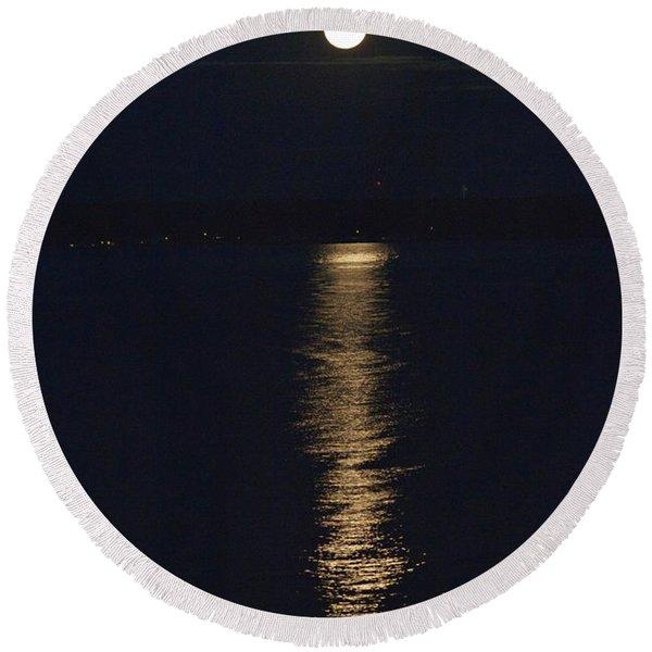 Moon Over Seneca Lake Round Beach Towel
