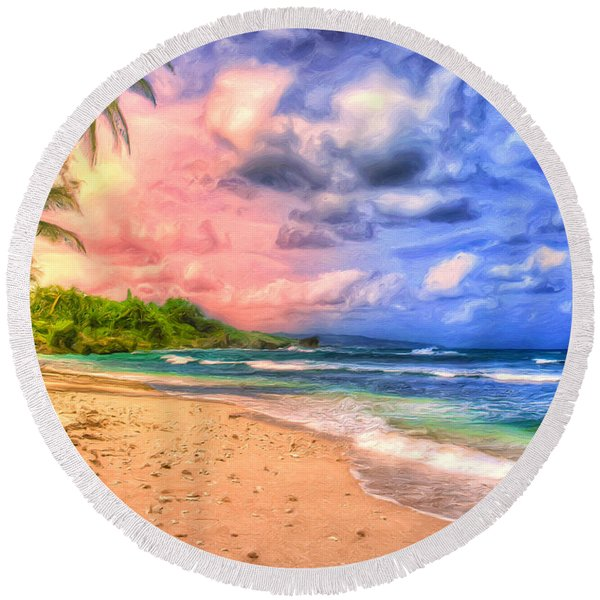 Morning Light Bali Round Beach Towel