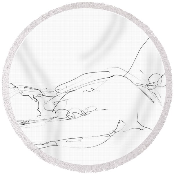 Nude-male-drawings-12 Round Beach Towel