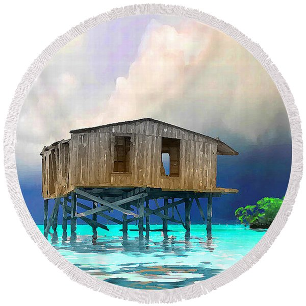 Old House Near The Storm Filtered Round Beach Towel