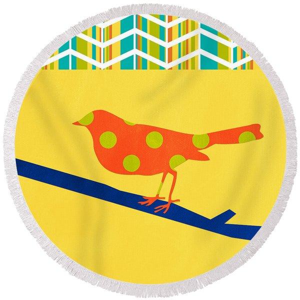 Orange Polka Dot Bird Round Beach Towel