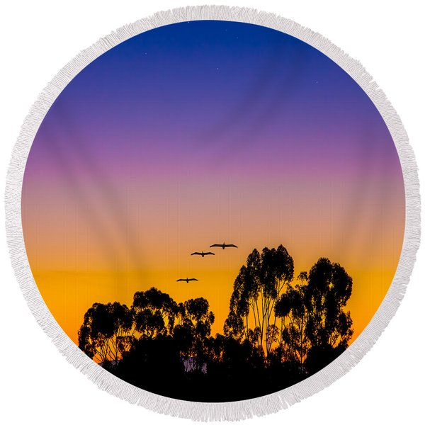 Round Beach Towel featuring the photograph Osibisa Dawn by Chris Lord