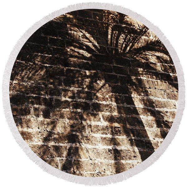 Palm Tree Cup Round Beach Towel