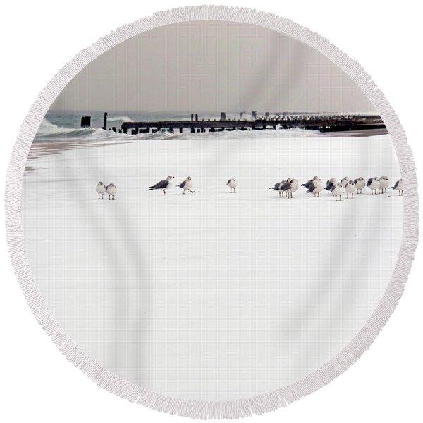 Polar Bird Club Round Beach Towel