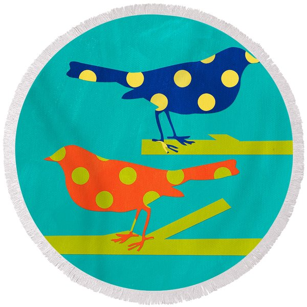 Polka Dot Birds Round Beach Towel
