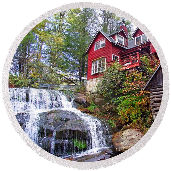 Red House By The Waterfall 2 Round Beach Towel