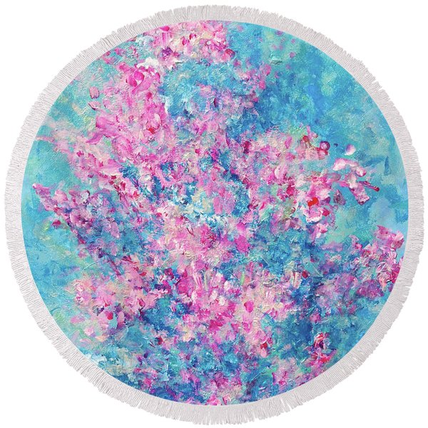 Round Beach Towel featuring the painting Redbud Special by Nancy Cupp