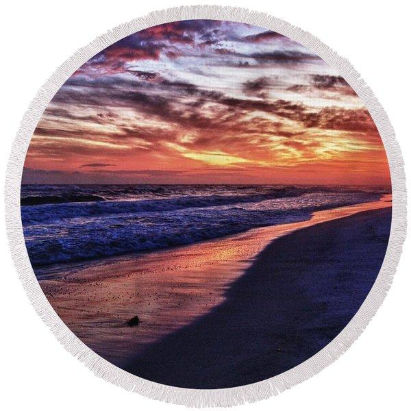 Romar Beach Sunset Round Beach Towel