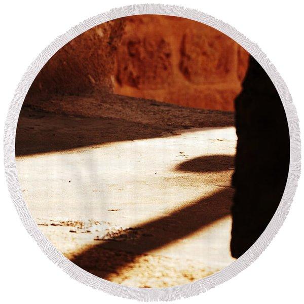 Shadow On The Windows Round Beach Towel