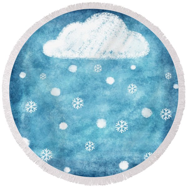 Snow Winter Round Beach Towel