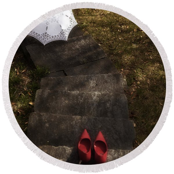 Stairs With Shoes And Parasol Round Beach Towel