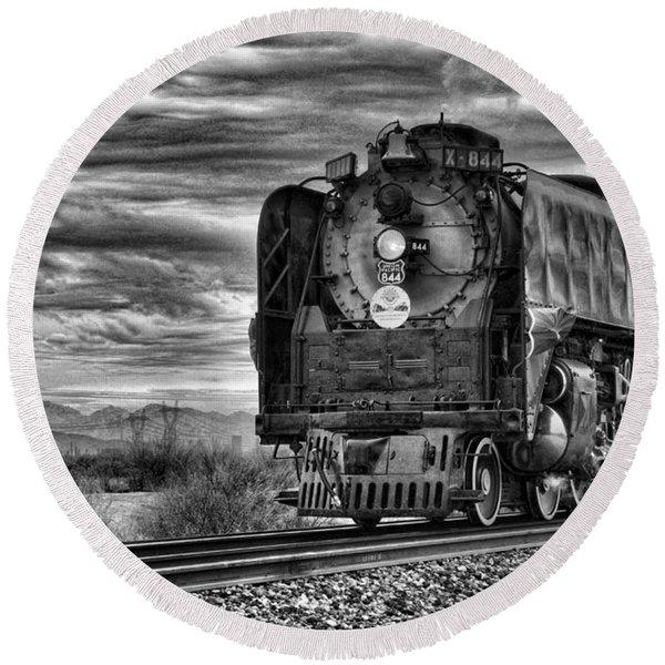 Steam Train No 844 - Iv Round Beach Towel
