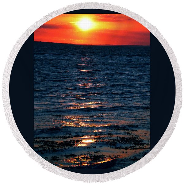 Round Beach Towel featuring the photograph Sunset Denmark Samsoe Island by Colette V Hera  Guggenheim