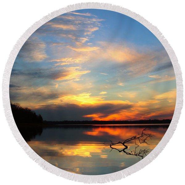 Sunset Over Calm Lake Round Beach Towel