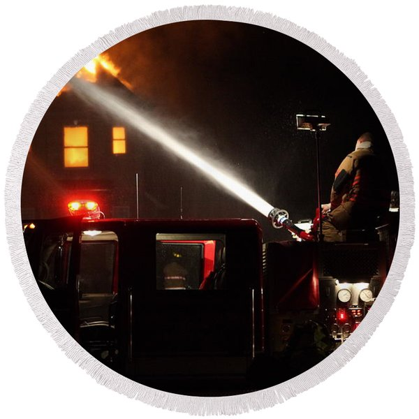 Water On The Fire From Pumper Truck Round Beach Towel