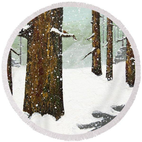 Wintering Pines Round Beach Towel