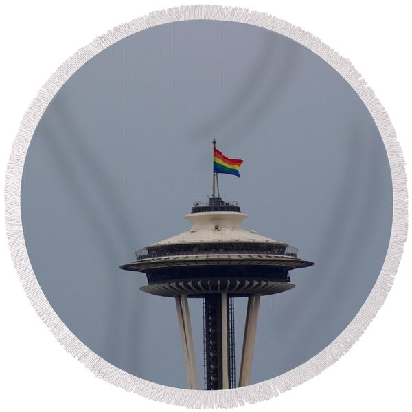 Celebrates Gay Pride  Round Beach Towel