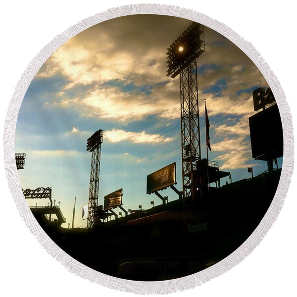 Fenway Lights Fenway Park David Pucciarelli  Round Beach Towel