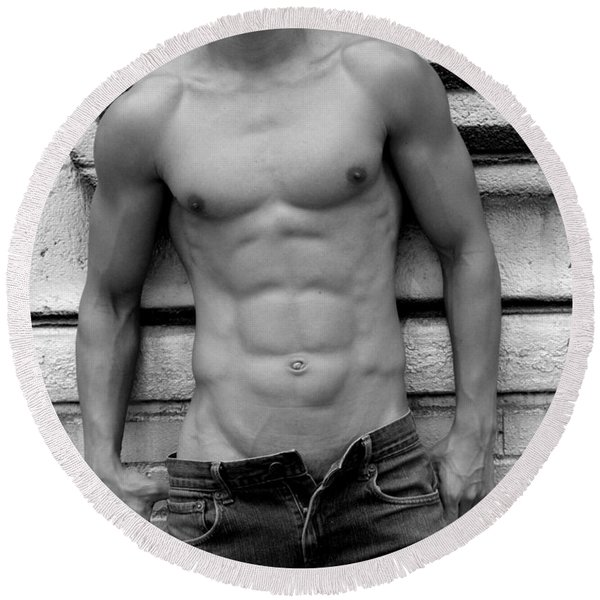Male Abs Round Beach Towel