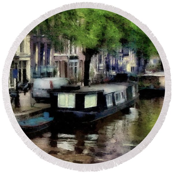 Amsterdam Canals Round Beach Towel