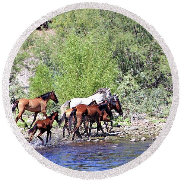 Arizona Wild Horses Round Beach Towel