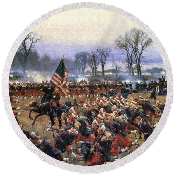 Battle Of Fredericksburg - To License For Professional Use Visit Granger.com Round Beach Towel
