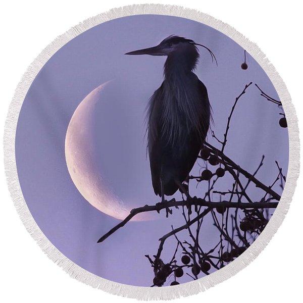 Blue Heron Moon Round Beach Towel