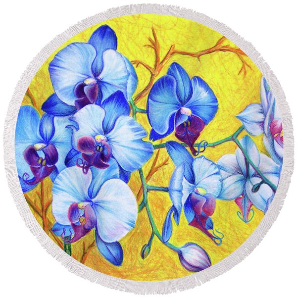 Round Beach Towel featuring the painting Blue Orchids #2 by Nancy Cupp