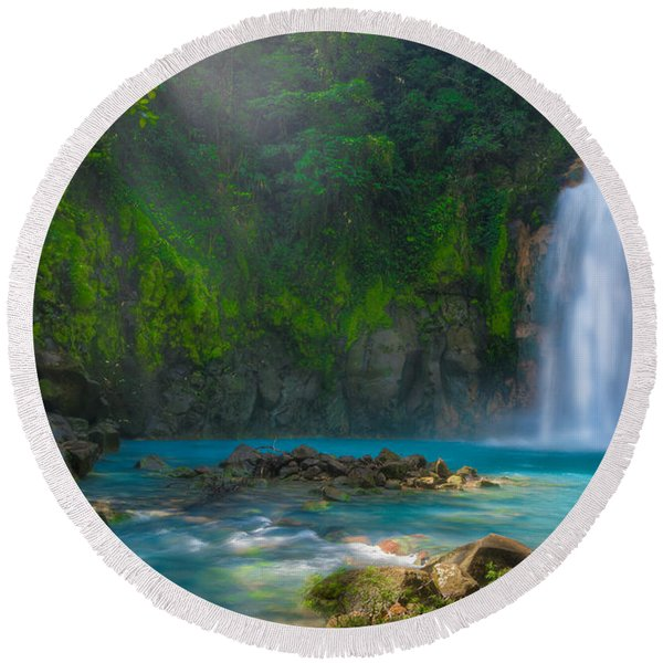 Blue Waterfall Round Beach Towel