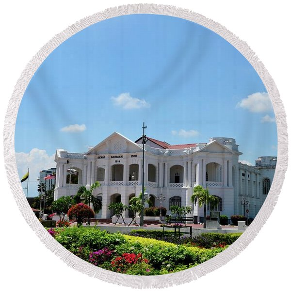 British Colonial Architecture Town Hall And General Post Office Building Ipoh Malaysia Round Beach Towel
