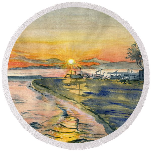 Candidasa Sunset, Bali Indonesia Round Beach Towel