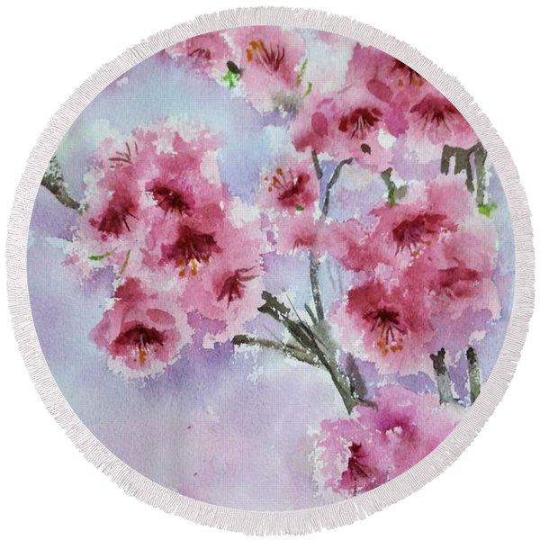 Cherry Blossoms Round Beach Towel
