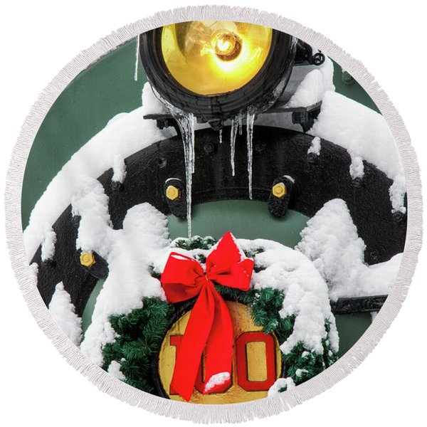 Round Beach Towel featuring the photograph Christmas Train At Pacific Junction by Lon Dittrick