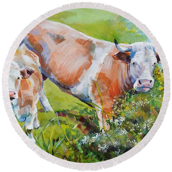 Cow And Calf Painting Round Beach Towel