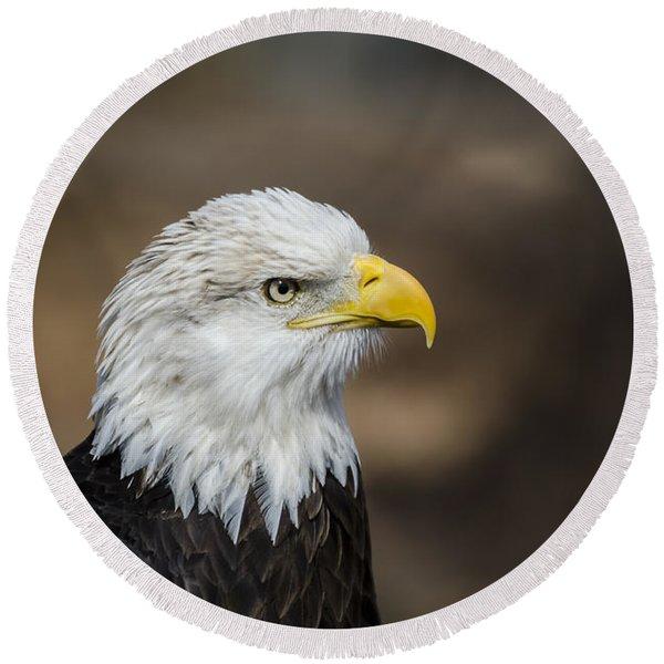 Eagle Profile Round Beach Towel