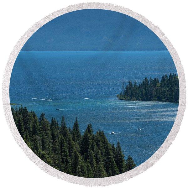 Emerald Bay Channel Round Beach Towel