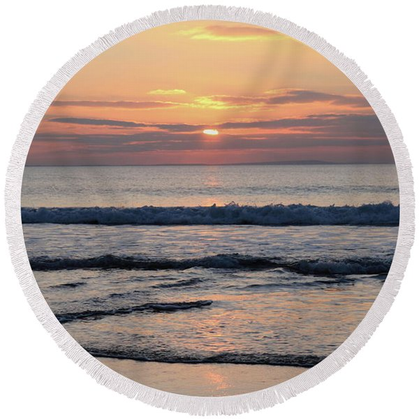 Fanore Sunset 2 Round Beach Towel