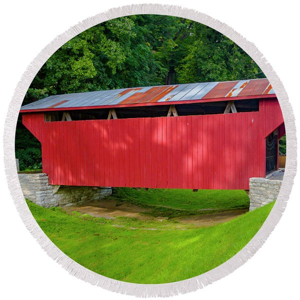 Feedwire Covered Bridge - Carillon Park Dayton Ohio Round Beach Towel