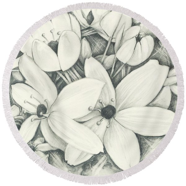 Flowers Pencil Round Beach Towel