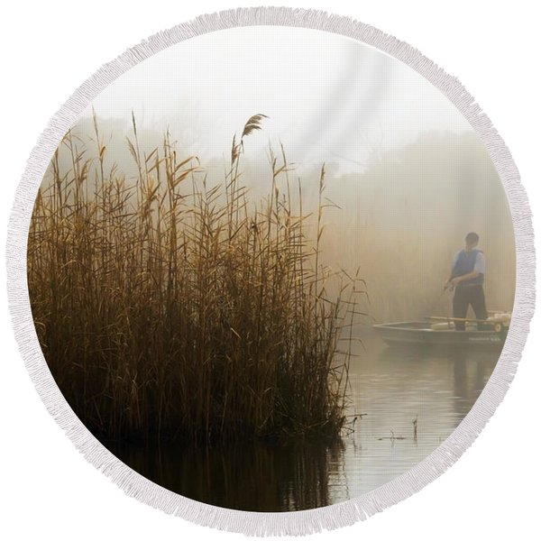 Foggy Fishing Round Beach Towel