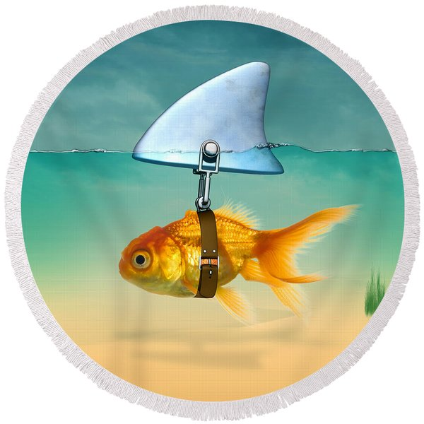 Gold Fish  Round Beach Towel