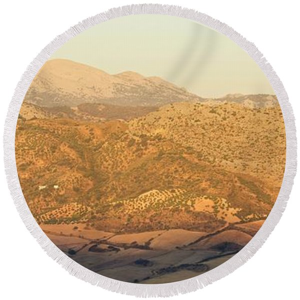 Golden Light In Andalusia Round Beach Towel