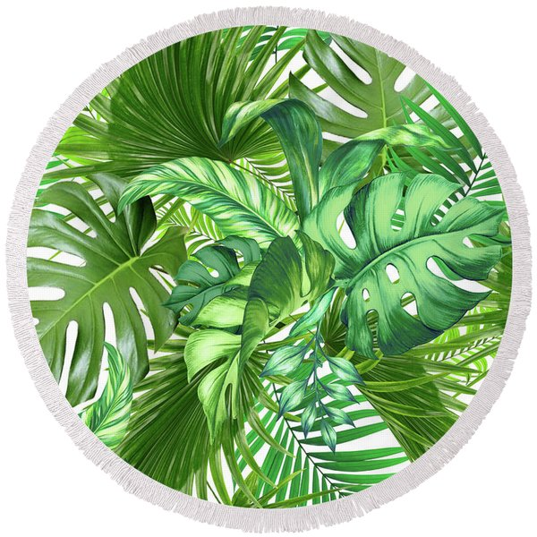Green Tropic  Round Beach Towel