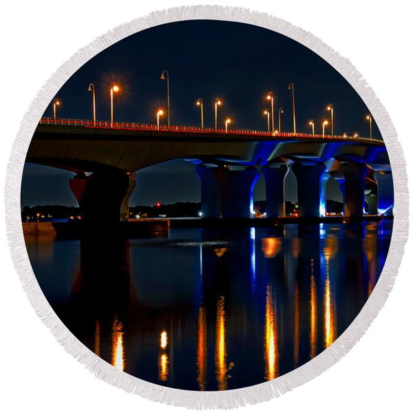 Hathaway Bridge At Night Round Beach Towel