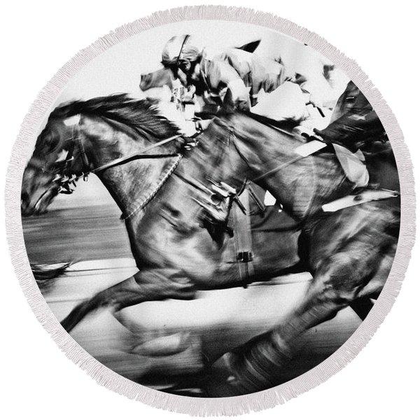 Horse Racing Round Beach Towel