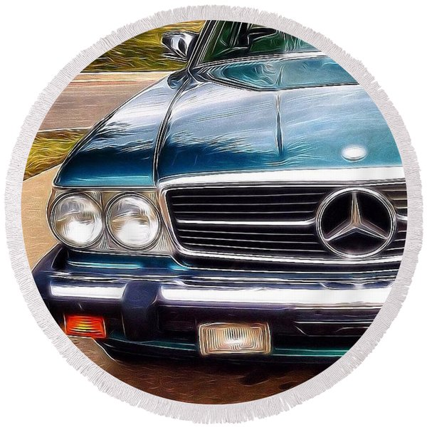 I Love #vintage #cars (and Jewelry Too) Round Beach Towel