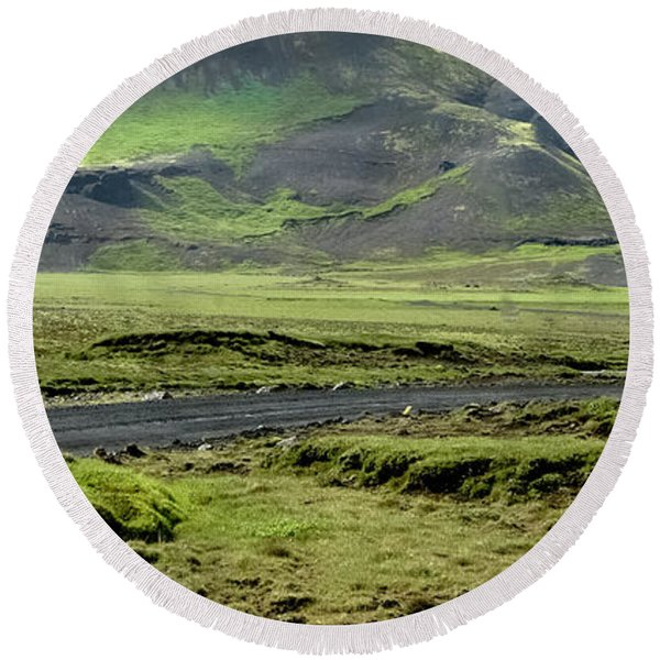 Icelandic Landscape Round Beach Towel