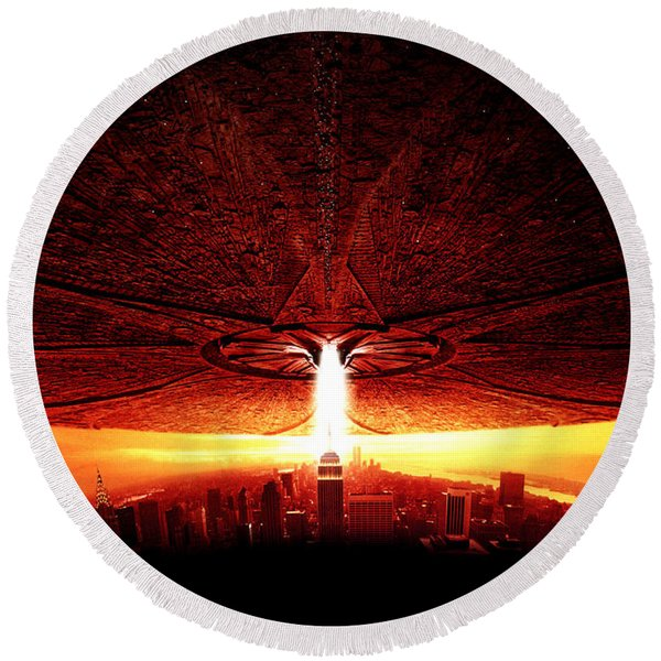 Independence Day 1996  Round Beach Towel