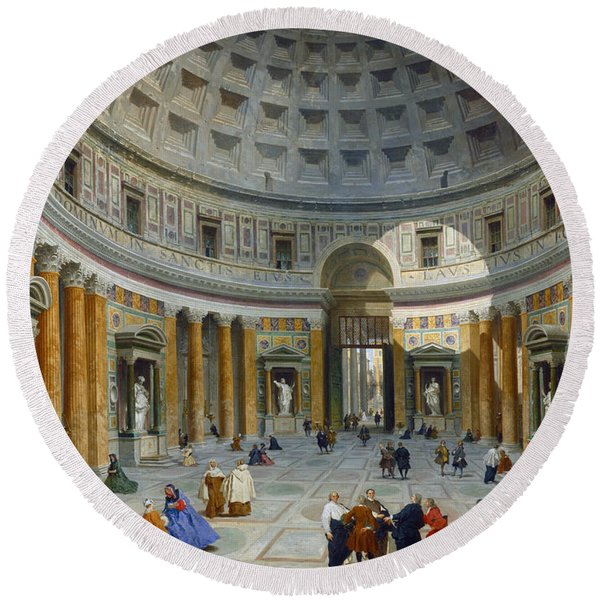 Interior Of The Pantheon, Rome Round Beach Towel
