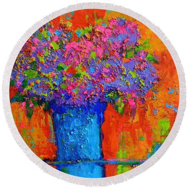 Joyful Perfection - Modern Impressionist Art - Palette Knife Work Round Beach Towel